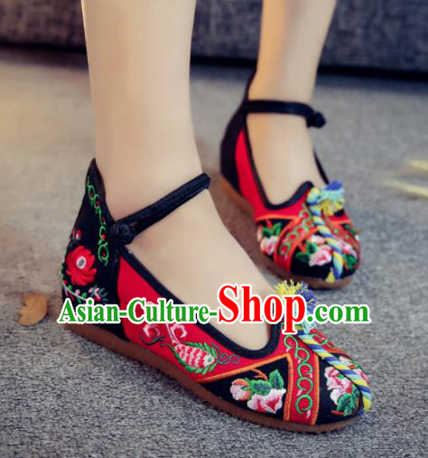 Asian Chinese Traditional Ethnic Dance Red Embroidered Shoes Hanfu Wedding Shoes National Cloth Shoes for Women