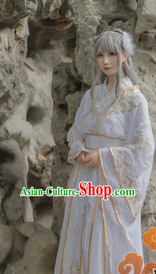 Chinese Traditional Cosplay Female Knight White Dress Custom Ancient Swordswoman Princess Costume for Women