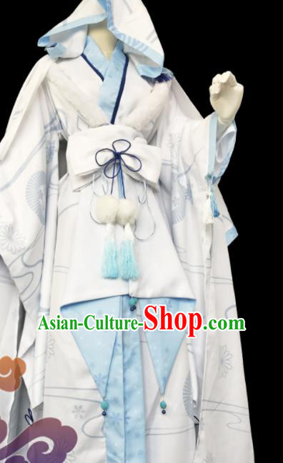 Chinese Traditional Cosplay Knight Imperial Consort White Dress Custom Ancient Swordswoman Princess Costume for Women
