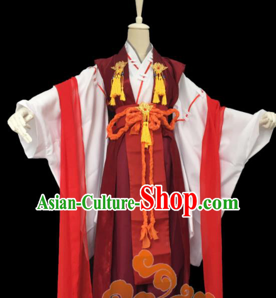 Custom Chinese Ancient Cosplay Taoist Priest Swordsman Purplish Red Clothing Traditional Royal Highness Costume for Men