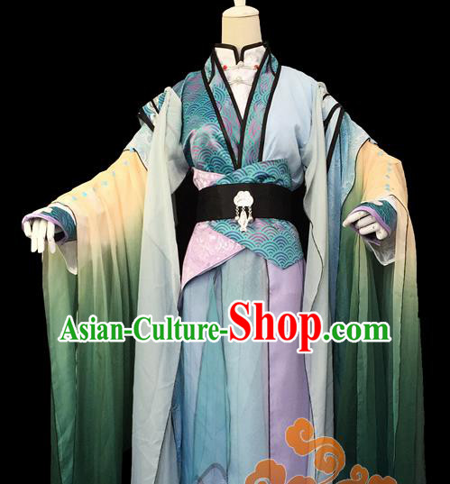 Custom Chinese Ancient Cosplay Taoist Priest Green Clothing Traditional Swordsman Dragon Prince Costume for Men