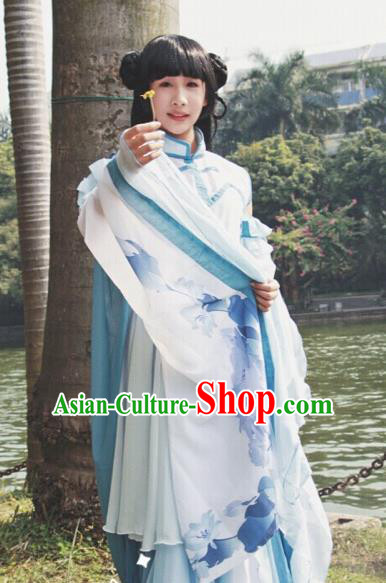 Traditional Chinese Cosplay Court Princess White Dress Ancient Swordswoman Costume for Women