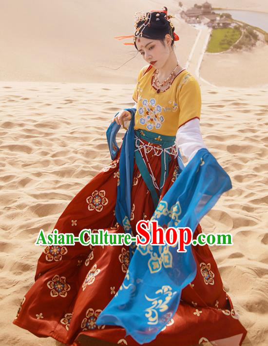 Ancinet Chinese Tang Dynasty Imperial Consort Hanfu Dress Traditional Flying Apsaras Dance Replica Costumes for Women