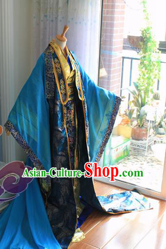 Custom Chinese Ancient Royal Highness Blue Clothing Traditional Cosplay Emperor Swordsman Costume for Men