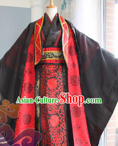 Custom Chinese Ancient Royal Highness Black Clothing Traditional Cosplay Emperor Swordsman Costume for Men