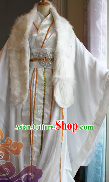 Custom Chinese Ancient Royal Highness White Clothing Traditional Cosplay Emperor Swordsman Costume for Men