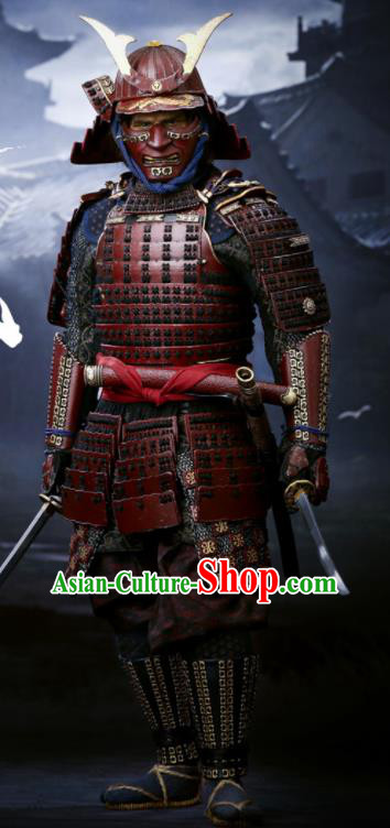 Japanese Ancient General Armor and Helmet Traditional Asian Japan Soldier Costumes Complete Set for Men