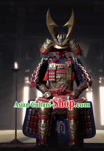 Japanese Ancient General Armor and Helmet Traditional Asian Japan Samurai Costumes Complete Set for Men