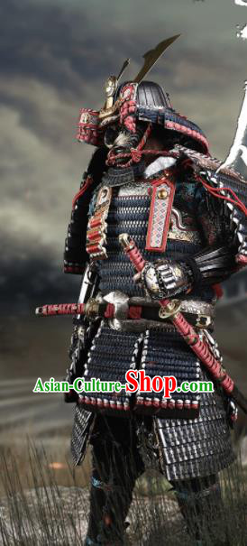 Japanese Ancient Warrior General Armor and Helmet Traditional Asian Japan Samurai Costumes Complete Set for Men