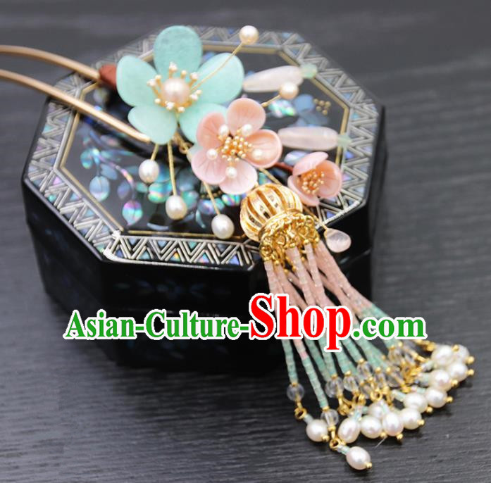 Chinese Ancient Princess Beads Tassel Hair Clip Hairpins Traditional Handmade Hanfu Hair Accessories for Women