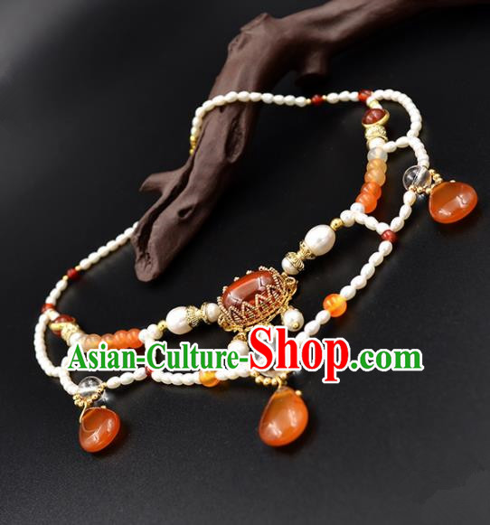 Chinese Ancient Court Wedding Agate Pearls Necklace Traditional Princess Hanfu Necklet Accessories for Women