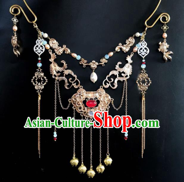Chinese Ancient Court Wedding Agate Tassel Necklace Traditional Princess Hanfu Necklet Accessories for Women