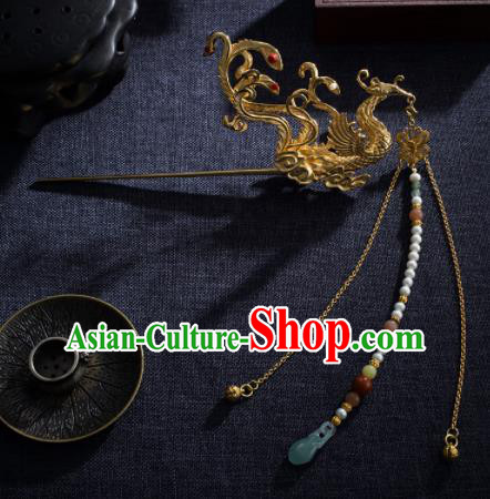 Chinese Ancient Princess Phoenix Tassel Hair Clip Hairpins Traditional Handmade Hanfu Hair Accessories for Women