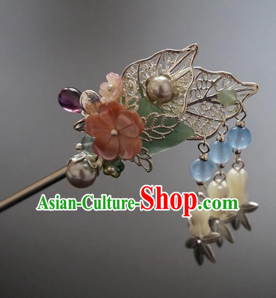 Chinese Ancient Princess Leaf Tassel Hair Clip Hairpins Traditional Handmade Hanfu Hair Accessories for Women