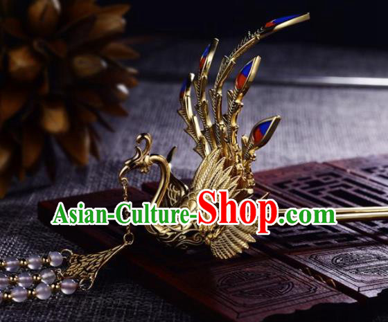 Chinese Ancient Princess Phoenix Tassel Hair Clip Golden Hairpins Traditional Handmade Hanfu Hair Accessories for Women