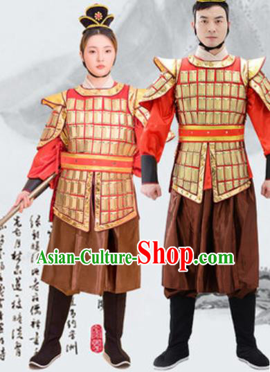 Traditional Chinese Ancient Drama Costumes Chinese Tang Dynasty Warrior Helmet and Armour for Men