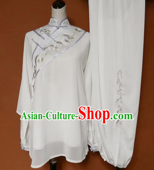 Chinese Professional Martial Arts Embroidered White Costume Traditional Kung Fu Competition Tai Chi Clothing for Women