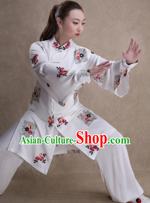Chinese Traditional Martial Arts White Costume Kung Fu Tai Chi Training Clothing for Women