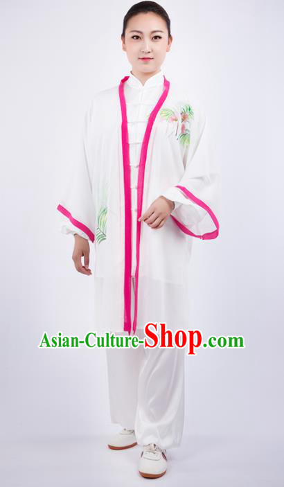 Chinese Traditional Martial Arts Printing White Costume Kung Fu Competition Tai Chi Training Clothing for Women