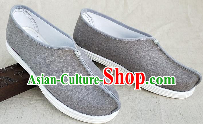 Traditional Chinese Grey Linen Monk Shoes Handmade Multi Layered Cloth Shoes Martial Arts Shoes for Men