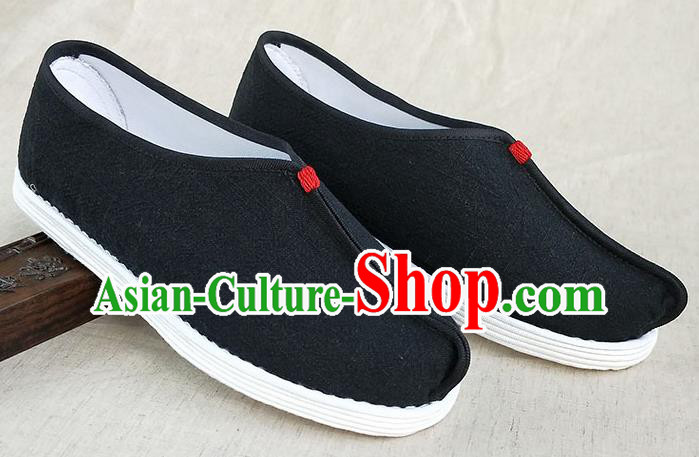 Traditional Chinese Black Linen Monk Shoes Handmade Multi Layered Cloth Shoes Martial Arts Shoes for Men