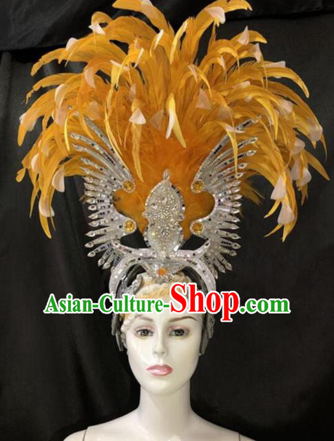 Customized Halloween Cosplay Deluxe Yellow Feather Hair Accessories Brazil Parade Catwalks Giant Headpiece for Women