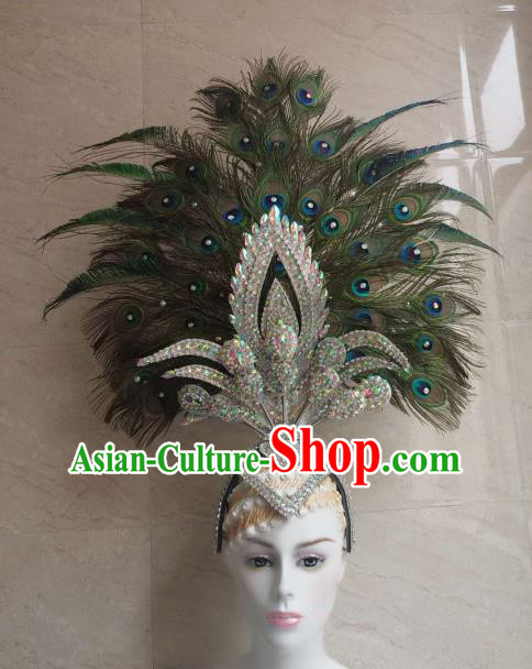 Customized Halloween Carnival Peacock Feather Giant Hair Accessories Brazil Parade Samba Dance Headpiece for Women