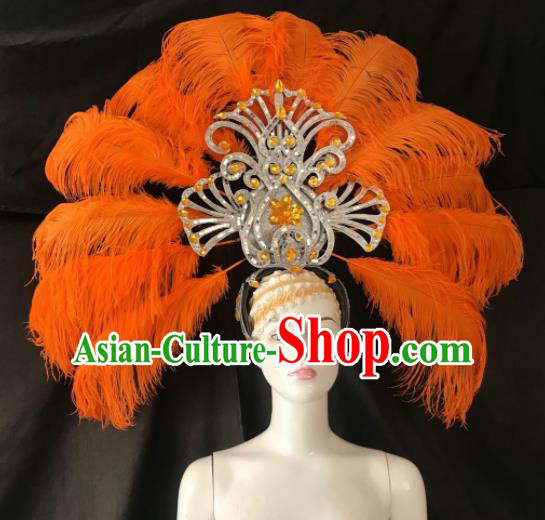 Customized Halloween Carnival Orange Feather Giant Hair Accessories Brazil Parade Samba Dance Headpiece for Women
