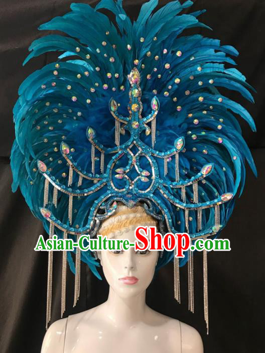 Customized Halloween Carnival Blue Feather Giant Hair Accessories Brazil Parade Samba Dance Headpiece for Women