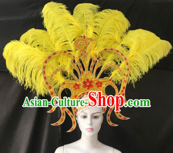 Customized Halloween Carnival Yellow Feather Giant Hair Accessories Brazil Parade Samba Dance Headpiece for Women