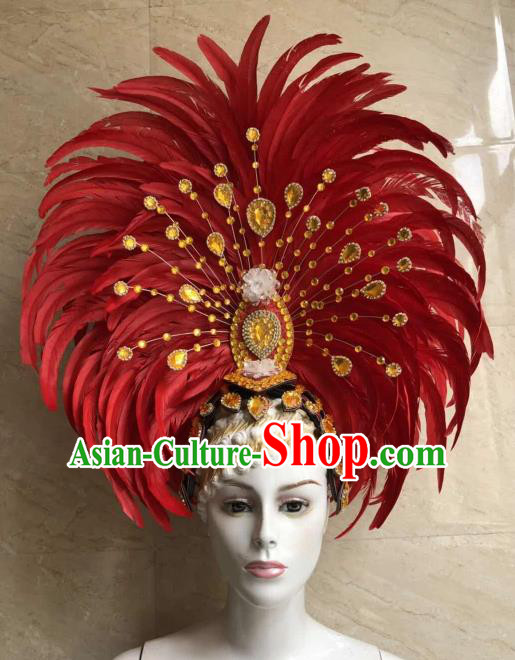 Customized Halloween Cosplay Red Feather Hair Accessories Brazil Parade Samba Dance Giant Headpiece for Women