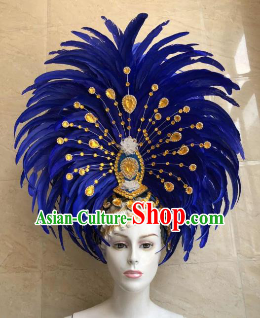 Customized Halloween Cosplay Royalblue Feather Hair Accessories Brazil Parade Samba Dance Giant Headpiece for Women