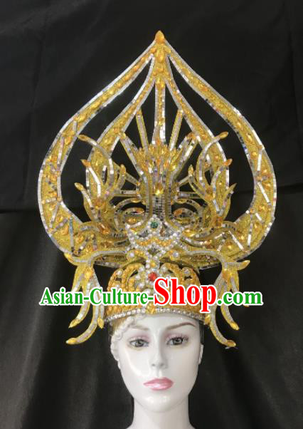Customized Halloween Carnival Stage Show Giant Hair Accessories Brazil Parade Samba Dance Headpiece for Women
