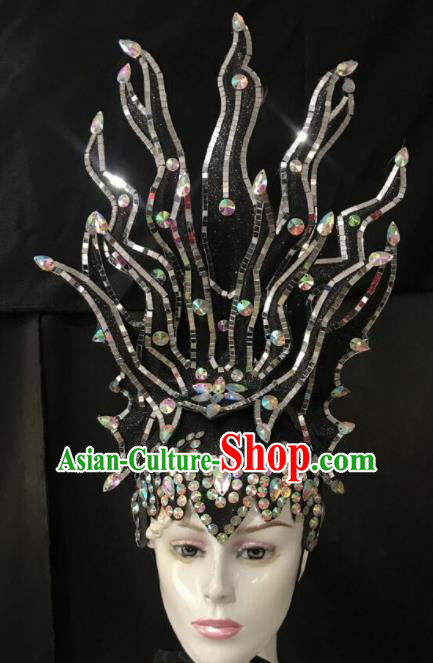 Customized Halloween Carnival Stage Show Giant Black Hair Accessories Brazil Parade Samba Dance Headpiece for Women