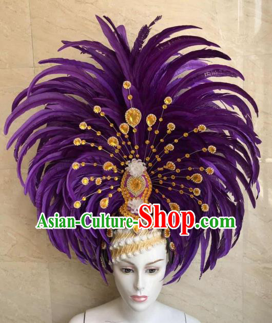 Customized Halloween Cosplay Purple Feather Hair Accessories Brazil Parade Samba Dance Giant Headpiece for Women