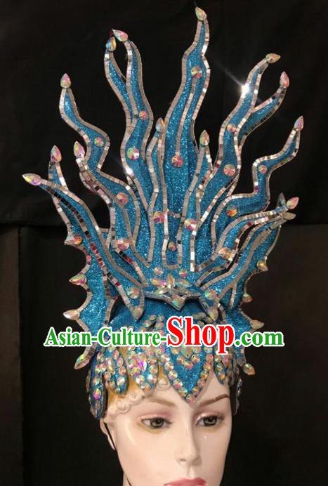 Customized Halloween Carnival Stage Show Giant Blue Hair Accessories Brazil Parade Samba Dance Headpiece for Women