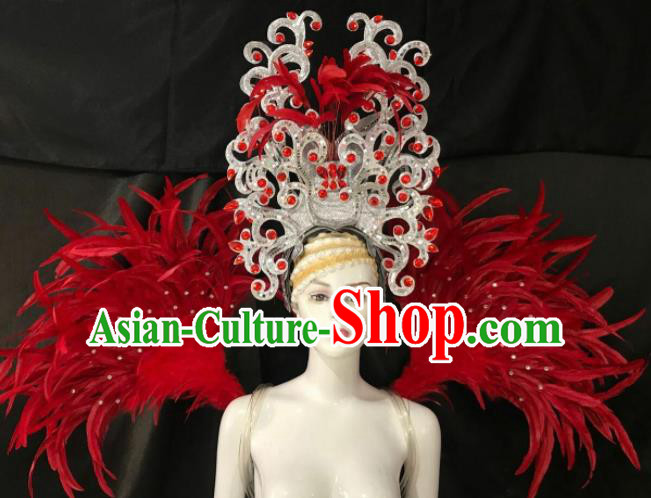 Customized Halloween Samba Dance Red Feather Props Brazil Parade Wings Backboard and Headpiece for Women