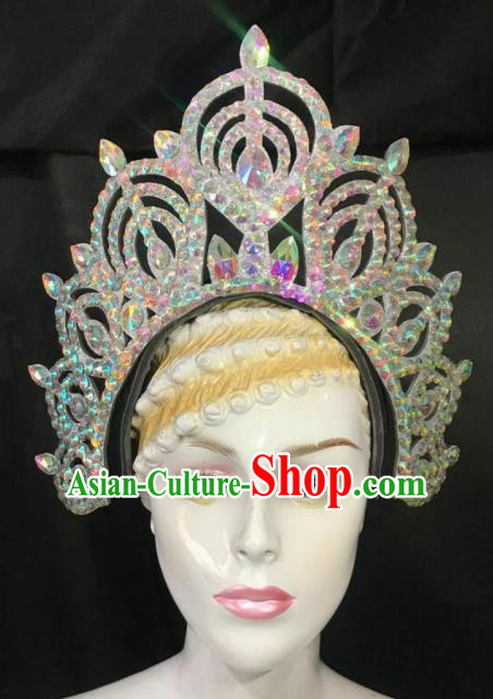 Customized Halloween Carnival Stage Show Giant Royal Crown Brazil Parade Samba Dance Headpiece for Women