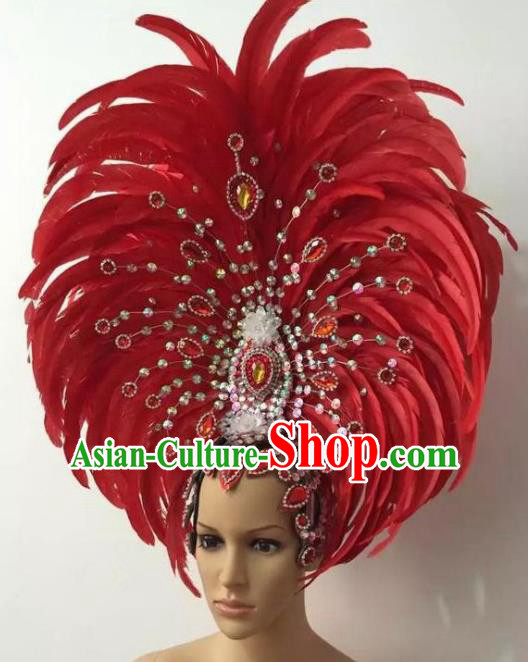 Customized Halloween Cosplay Watermelon Red Feather Hair Accessories Brazil Parade Samba Dance Giant Headpiece for Women