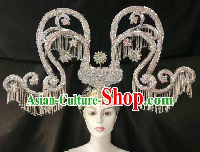 Customized Halloween Carnival Stage Show Deluxe Giant Hair Accessories Brazil Parade Samba Dance Headpiece for Women