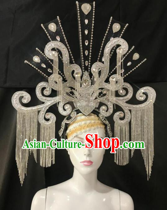 Customized Halloween Carnival Stage Show Giant Tassel Hair Accessories Brazil Parade Samba Dance Headpiece for Women