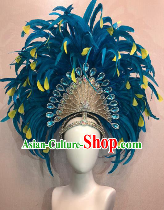 Customized Halloween Cosplay Peacock Blue Feather Hair Accessories Brazil Parade Samba Dance Giant Headpiece for Women