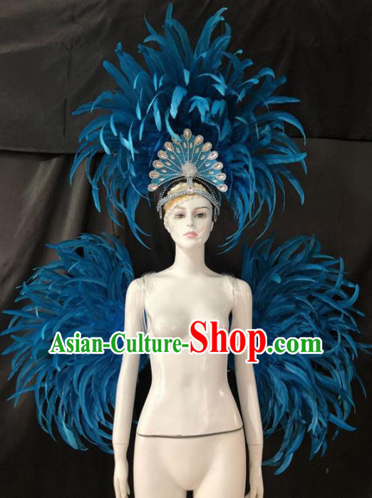 Customized Halloween Samba Dance Blue Feather Props Brazil Parade Backboard and Giant Headpiece for Women