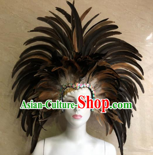 Customized Halloween Cosplay Feather Hair Accessories Brazil Parade Samba Dance Giant Headpiece for Women