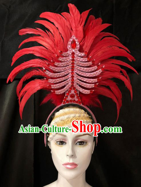 Customized Halloween Carnival Red Feather Hair Accessories Brazil Parade Samba Dance Giant Headpiece for Women