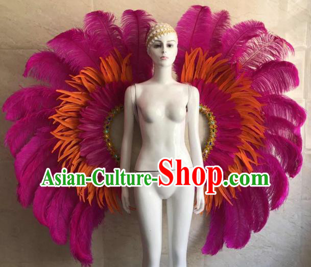 Customized Halloween Samba Dance Prop Brazil Parade Rosy Feather Wings Giant Backboard for Women