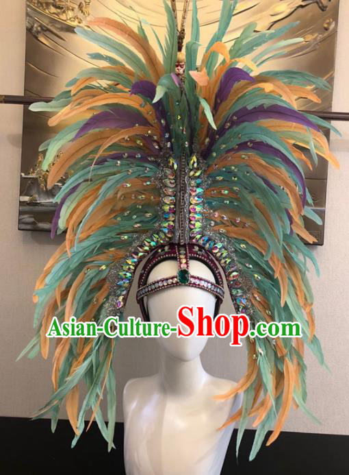 Customized Halloween Carnival Colorful Feather Hair Accessories Brazil Parade Samba Dance Giant Headpiece for Women