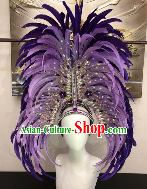 Customized Halloween Carnival Purple Feather Hair Accessories Brazil Parade Samba Dance Giant Headpiece for Women