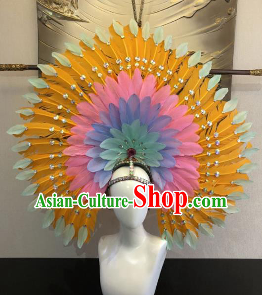 Customized Halloween Carnival Yellow Feather Hair Accessories Brazil Parade Samba Dance Giant Headpiece for Women