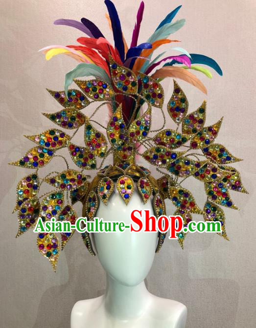 Customized Halloween Carnival Feather Hair Accessories Brazil Parade Samba Dance Giant Headpiece for Women
